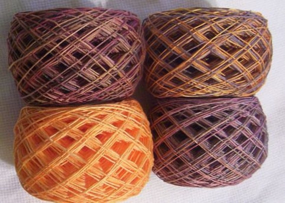 hand dyed thread 600 yards fall colors  crochet thread size 10  crocheting, knitting, tatting supplies