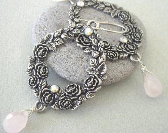 Rose Quartz Teardrop and Flower Earrings