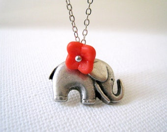 Elephant Necklace with Coral Flower