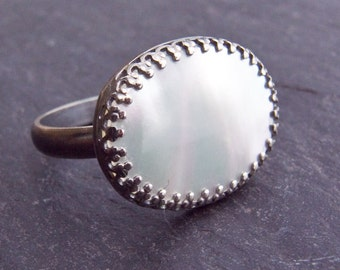 Mother of Pearl Ring. Mother of Pearl Cocktail Ring