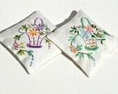 Vintage embroidered linen lavender sachet - lilac and green set