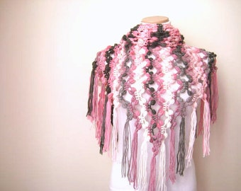 Pink, Gray, White Bubble Shawl - Warm Triangle Scarf Cowl - GIFT for HER - Ready to Ship