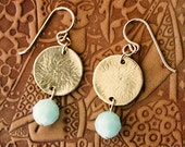 Sale-Mint Seafoam Alabaster Swarovski Crystal Earrings with Gold Disc, Gold Earrings, Mint Earrings, Sea Foam Earrings