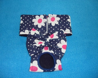 Female Dog Diaper / Panties - Nappies - Britches - Navy with White Polka Dots and Pink and White Daisies -Available in all Sizes