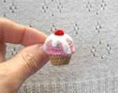 Crochet Cupcake Brooch - Pink Cupcake Pin with Cream and Cherry - Mini Amigurumi Food