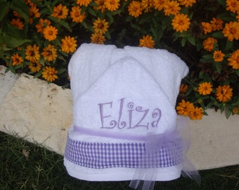 Personalized Embroidered Hooded Towel Purple Gingham with Child's Name, birthday present, christmas present, christmas gift