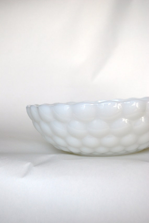 Milk Glass Bubble Bowl, genuine vintage