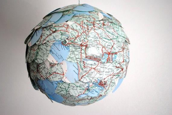 Items similar to scalloped map paper lantern recycled for Recycled paper lantern