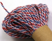AIRMAIL Red, Blue and White Bakers Twine String for crafting, gift wrapping, packaging, invitations - 15 yards