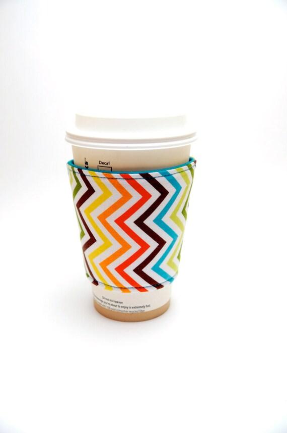 Rainbow Chevron Reusable Coffee Cozy - Ecofriendly Rainbow Coozie