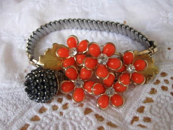 Autumn Collection.vintage flower and watchband assemblage bracelet