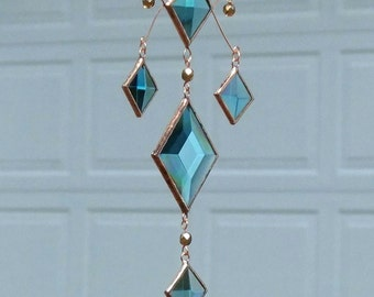 Mobile Cluster of Turquoise Glass Bevels and Bronze Glass Beads and Copper Lines