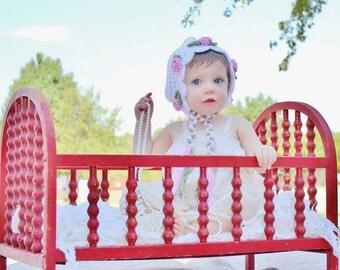 0-6 month Pixie Rose Bonnet crochet pattern