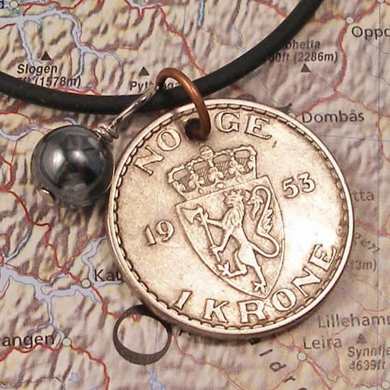 Norway, Vintage Coin Necklace --- Norwegian Coat of Arms --- Norge - Kingdom - Royalty - Europe - World Travel
