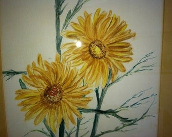 Vintage Hand Painted Large Sunflower Watercolor, Fall Garden Home And Living, Wall Art Home Decor