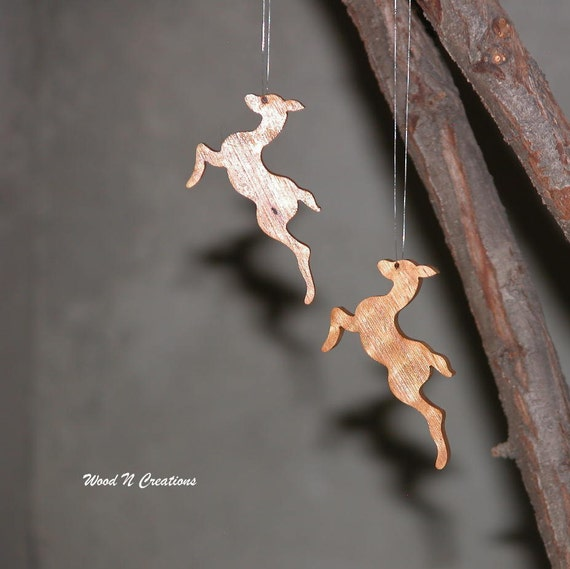Christmas Holiday Ornaments - Hanging Tree Ornaments - Flying Reindeer Ornaments - Set of 2