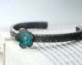 Forget Me Not Flower Bracelet Sterling Silver Cuff With Copper Forget Me Not Flower