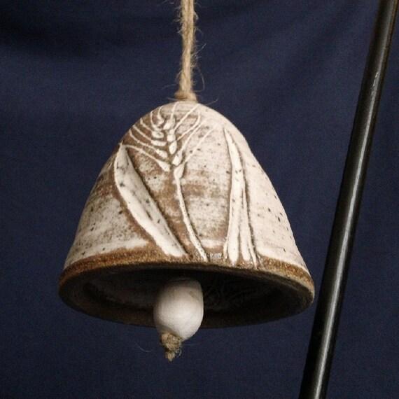 Pottery Bell Wheat Design Handmade by Daisy Friesen