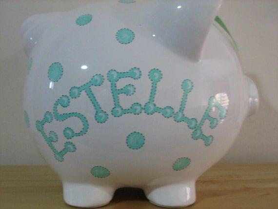 Personalized  Piggy  Bank-Polka Dots MINT GREEN--Newborns , Girls , Flower girl,Baby Shower Gift Centerpiece