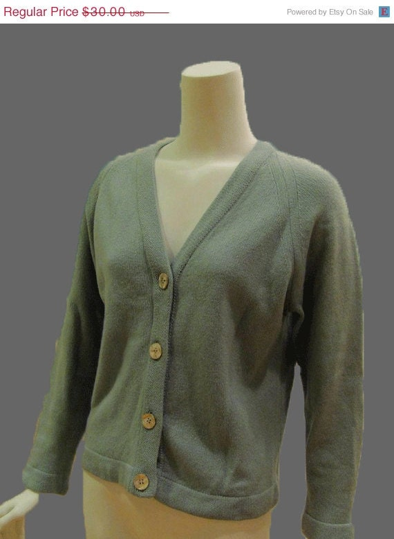 Vintage Cardigan Sweater Lambswool Sea Foam Grandpa Sweater 1950s 1960s button up Mad Men Era