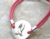 Breast Cancer Awareness - Hand Forged Pink Ribbon Bracelet - CharmsofFaith