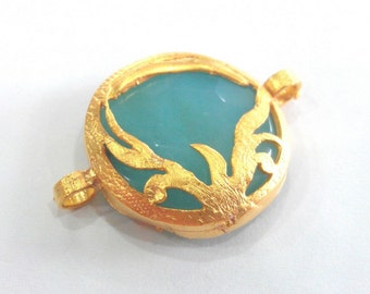 28 mm. Blue Pendant  Connectors , Gold Plated Brass  Bezel ,  Pendants  G782
