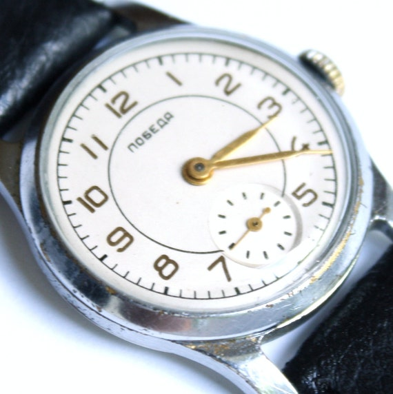 Mens watch, ladies watch, unisex watch RARE Old soviet POBEDA watch from 40s 50s