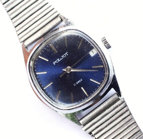 Vintage Soviet Russia watch Poljot cobalt blue color watch, mens wrist watch