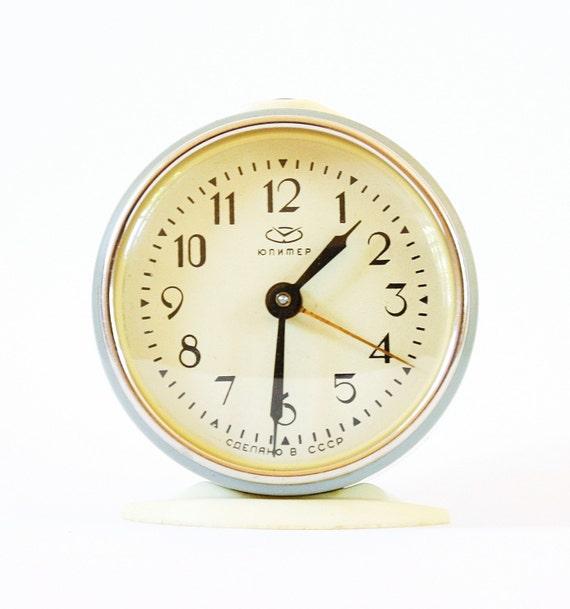 Vintage mechanical alarm clock Jupiter from Russia Soviet Union, vintage alarm clock