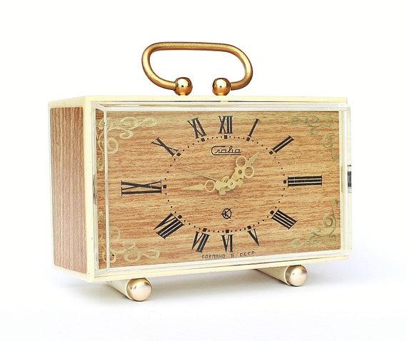 Vintage Russian Quarz alarm clock Slava from Soviet Union period