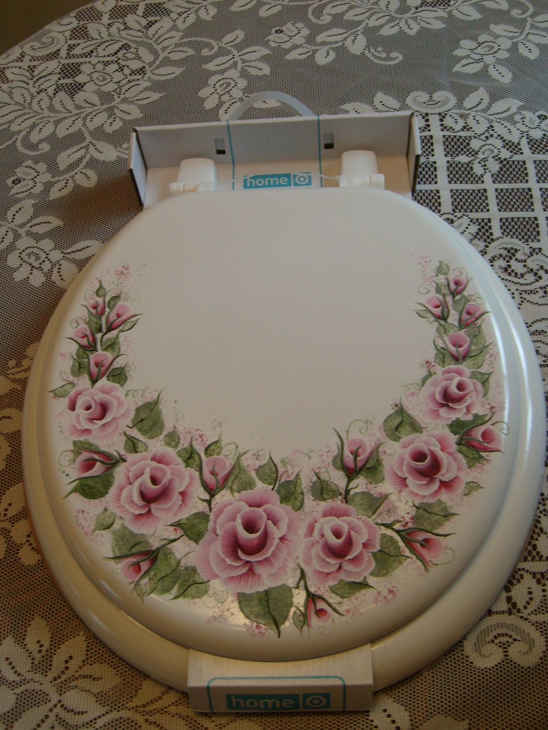 Shabby cottage victorian chic hand painted pink rose toilet for Toilette shabby chic