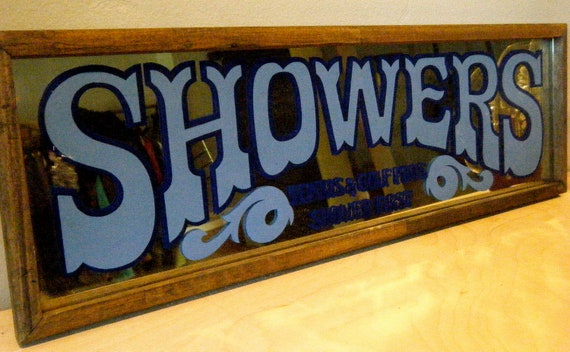 Vintage Framed Shower Mirror, Country Club, Tennis and Golf Pros Shower First in Blue Writing