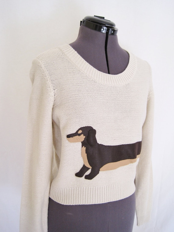 Wrapped Dachshund Crop Sweater in Oatmeal