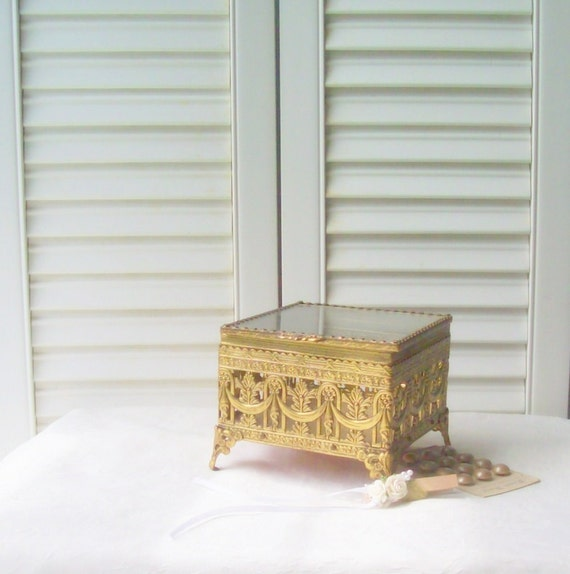 Gold Filigree Jewelry Casket Vintage Jewelry Box Trinket Box Hollywood Regency Filigree Case Ormolu Jewelry Box