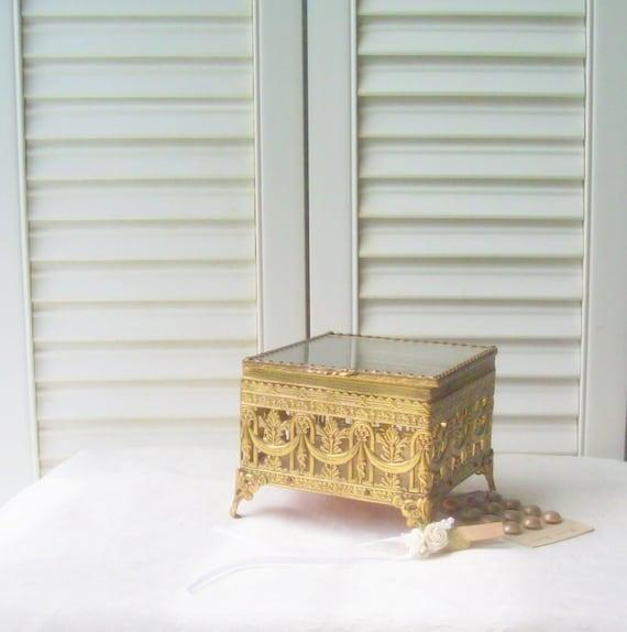 Gold Filigree Jewelry Casket Vintage Jewelry Box Trinket Box Hollywood Regency Filigree Case Ormolu Jewelry Box