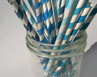 30 Paper Straws....Blue Mix Set, Different Shades of Blue,  with FREE DIY Blank Flags, Retro