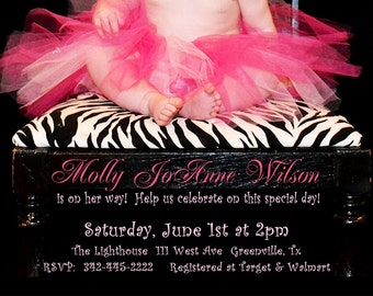 Zebra Print and Hot pink TuTu Baby Shower Invitation for GIRL