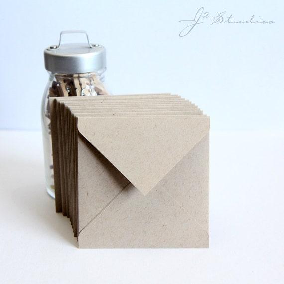 Kraft, Natural Square Envelopes, Various Square Envelope Sizes, Set of 12