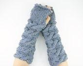 long knit fingerless knit gloves arm warmers fingerless mittens Cable knit light blue tweed women men unisex vegan tagt curationnation