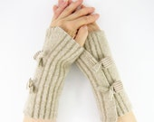 recycled wool fingerless gloves arm warmers fingerless mittens unisex wrists warmers arm cuffs beige fall autumn eco friendly curationnation