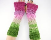 long knit fingerless gloves knit arm warmers fingerless mittens Cable knit green pink for her women  woodland fall curationnation