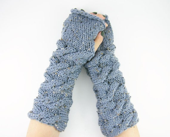 long knit fingerless knit gloves arm warmers fingerless mittens Cable knit light blue tweed women men unisex vegan tagt curationnation