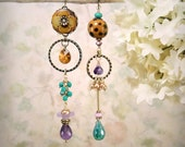 Catwalk - Asymmetrical Earrings Gypsy Bohemian Caramel Purple Turquoise Earrings Cheetah Boho Artistic Green Onyx Amethyst Gemstone Earrings