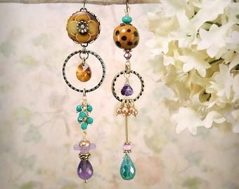 Catwalk - Asymmetrical Earrings Gypsy Bohemian Caramel Purple Turquoise Earrings Cheetah Boho Artistic Green Onyx Amethyst Gemstone Earrings