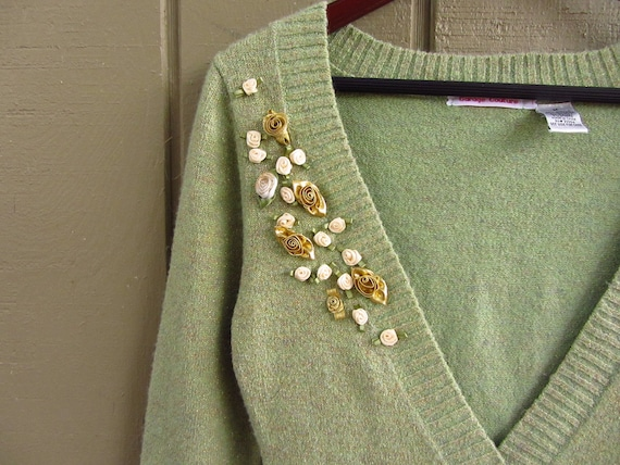 Upcycled Green and Gold Lorex Vneck Sweater Detailed with Lots of Rosettes - Womens Upcycled Clothing - Size Small Medium