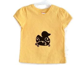 Rubber Ducky Screenprinted Yellow Tshirt Black Ink