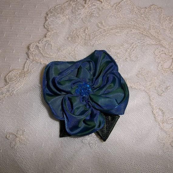 Royal Blue Ribbon Rose Brooch