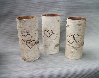 Birch bark vases with double hearts