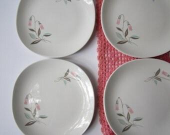 Vintage Kokura Ware Fanwood Pink Aqua Floral Mod Bread & Butter/Dessert Plates Set of Four - Mid Century