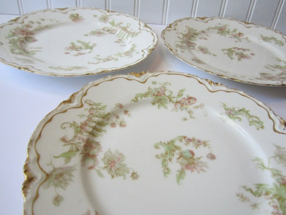 Vintage Pink Green Haviland Limoges Floral Salad Plates Set of Three